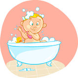 Happy cartoon baby kid in bath tub Stock Images