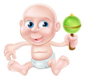 Happy cartoon baby playing Stock Photos