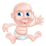 Happy cartoon baby waving Stock Image