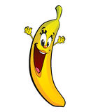 Happy cartoon banana character Stock Image