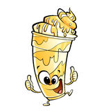 Happy cartoon banana vanilla milkshake character making thumbs u Royalty Free Stock Images