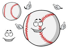 Happy cartoon baseball ball pointing its fingers. Happy cartoon baseball ball with a cute smile pointing its fingers with a second plain variant with no face and Royalty Free Stock Photography