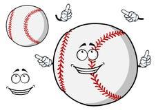 Happy cartoon baseball ball pointing its fingers Royalty Free Stock Photography