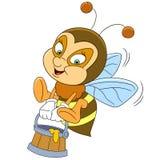Happy cartoon bee with honey Royalty Free Stock Photo