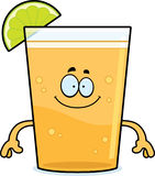 Happy Cartoon Beer with Lime Royalty Free Stock Images