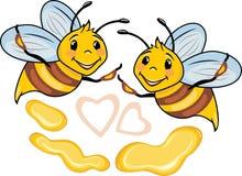 Happy cartoon bees and honey drops Royalty Free Stock Photo