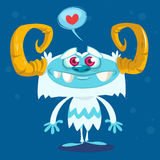 Happy cartoon bigfoot in love. Halloween vector yeti character with white fur and horns  on blue background Royalty Free Stock Photos