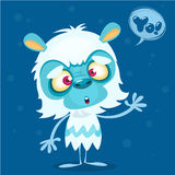 Happy cartoon bigfoot with speech bubble. Halloween vector yeti character with white fur and horns  on blue background Royalty Free Stock Image