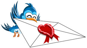 Happy cartoon bird delivering love letter  Royalty Free Stock Photos