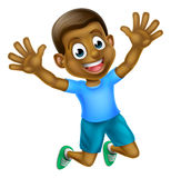 Happy Cartoon Black Boy Jumping Royalty Free Stock Images