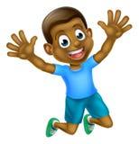 Happy Cartoon Black Boy Jumping Royalty Free Stock Images