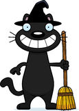 Happy Cartoon Black Cat Witch Royalty Free Stock Photos