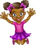 Happy Cartoon Black Girl Jumping Royalty Free Stock Photos