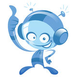 Happy cartoon blue astronaut smiling and making thumb up gesture. Happy cartoon alien spaceman with spacesuit smiling and making thumbs up gesture Royalty Free Stock Photo