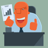 Happy cartoon boss is pleased with the results. Royalty Free Stock Photos