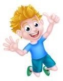 Happy Cartoon Boy Jumping Royalty Free Stock Photography