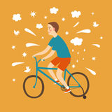 Happy cartoon boy learning to ride a bicycle Stock Images