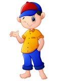 Happy cartoon boy waving. Illustration of Happy cartoon boy waving Royalty Free Stock Photography
