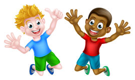 Happy Cartoon Boys. Cartoon young boys, one black and one white, jumping for joy Stock Illustration