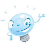A happy cartoon bulb character presenting Stock Images