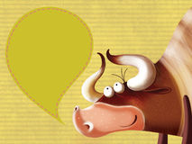 Happy cartoon bull with a  sign. Illustration with a vintage background Stock Photography