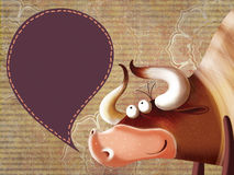 Happy cartoon bull with a  sign. Illustration with a vintage background Stock Photos