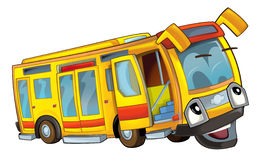 Happy cartoon bus. Beautiful illustration for the children Stock Image
