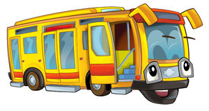 Happy cartoon bus. Beautiful illustration for the children Stock Photos