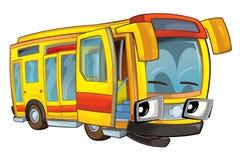 Happy cartoon - bus - caricature Royalty Free Stock Photography