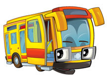 Happy cartoon - bus - caricature Royalty Free Stock Image