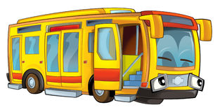 Happy cartoon bus isolated Royalty Free Stock Images