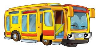 Happy cartoon bus isolated Stock Photography
