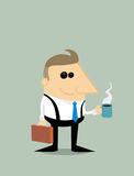Happy Cartoon businessman with coffee Royalty Free Stock Photos
