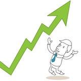 Happy cartoon businessman earnings growing graph Royalty Free Stock Image