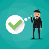 Happy cartoon businessman with green tick Royalty Free Stock Images