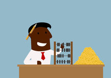 Happy cartoon businessman with money and abacus. Happy cartoon african american businessman counting money with wooden abacus. Success and wealth concept themes Stock Images