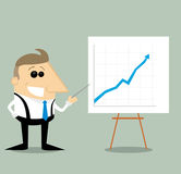 Happy Cartoon businessman with presentation graph Royalty Free Stock Photos