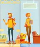 Happy Cartoon Buyers Vertical Banners. Happy cartoon buyers two vertical banners with man and woman standing in supermarket interior with gadgets in their hands Royalty Free Stock Photos