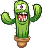 Happy cartoon cactus with big smile. Vector clip art illustration with simple gradients. All in a single layer Stock Photo