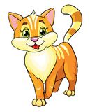 Happy cartoon cat. Cartoon illustration of happy ginger cat isolated on white background Royalty Free Stock Photography