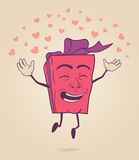 Happy cartoon character of valentines gift box Royalty Free Stock Photo