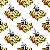 Happy cartoon cheese sandwich seamless pattern Royalty Free Stock Photo