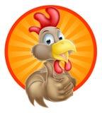 Happy Cartoon Chicken. A fun happy cartoon chicken mascot giving a thumbs up Stock Image