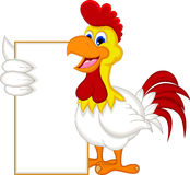 Happy cartoon chicken holding blank sign Stock Photo