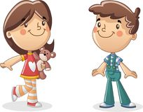 Happy cartoon children. Boy and girl. Cute kids Stock Photography