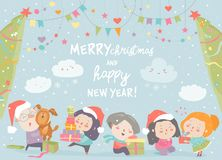 Happy cartoon children with Christmas gifts. Merry Christmas royalty free stock photo