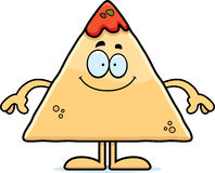 Happy Cartoon Chips and Salsa. A cartoon illustration of a tortilla chip with salsa looking happy Stock Image