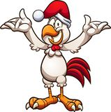 Happy cartoon Christmas chicken with arms up royalty free illustration