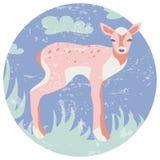 Happy cartoon Christmas deer flat icon. Reindeer art flat illustration. Deer animal icon isolated.Background with wild animal stock illustration