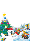 Happy cartoon christmas scene with happy kids and christmas tree Royalty Free Stock Photo